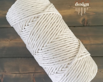 Natural cotton rope / rope for macramé / 4mm diameter / one-strand rope / 160 meters / 525 feet
