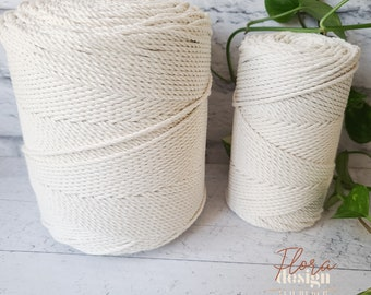 Twisted rope roll 3 mm / 3-strand rope / 3mm thickness / triple strand / 410 meters per roll / 1345 feet / natural cotton