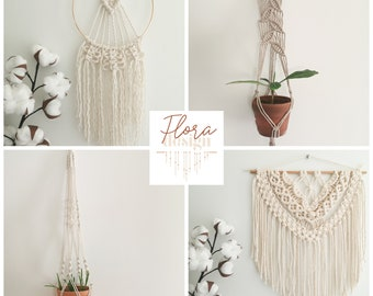 Advanced Flora Design Course / Premium DIY Kit / Creative Set to carry out 4 projects in macramé /activity to do at home