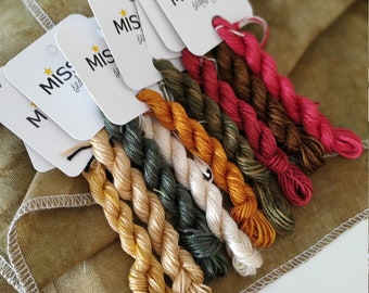 NEWCASTLE BOUQUET PACK. 13 Mini Skeins Pack. 9 New Colors. 100 % Mulberry Silk. (Fabric and Design Not Included)