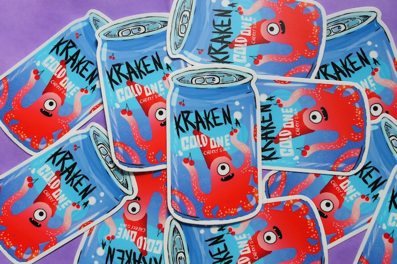 Kraken A Cold One Sticker Cherry Soda image 0