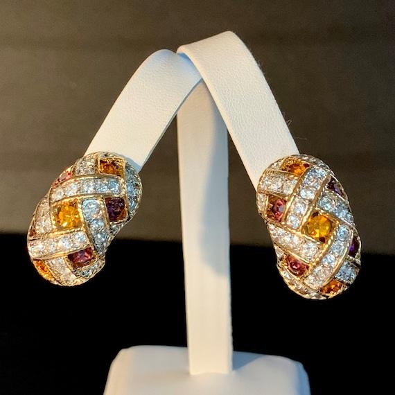 Vintage 1980s D'Orlan Rhinestone Crystal Clip Earr