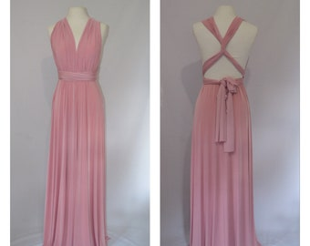 b626ee9a862 Dusty pink Bridesmaid dress Infinity dress Twist and wrap dress Prom dress  Evening gown Multi-way dress