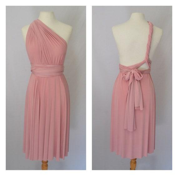 Knee length Dusty pink Bridesmaid dres Infinity dress Twist wrap dress Prom dress Evening gown Convertible dress Multi way dress Maxi dress