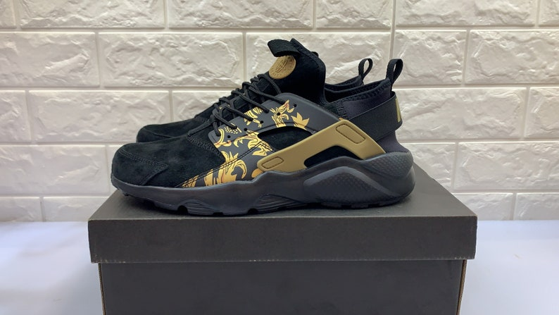 the best attitude 84ed9 8175a Custom Suede Versace Themed Nike Huarache Ultra's