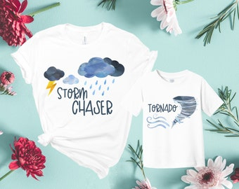 40d451fd28e23 Storm Chaser / Tornado Mother Son Matching Shirts, Mommy and Me Outfits  Boy, Mother and Son