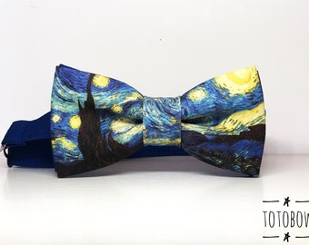 923fb0d700d7 The Starry Night Vincent Van Gogh funny bowtie, designer bowtie bowtie,  Children's and adult sizes
