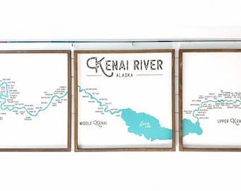 Kenai River Fishing Holes Farmhouse Sign, Kenai River Map, River House, Fishing Lodge Decor, Alaska Cabin, Made in Alaska Kenai River Alaska
