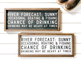 River Forecast Farmhouse Sign, Fishing Sign, Fisherman Decor, Kenai River Alaska, Made in Alaska, River House Decor, Man Cave Decor,