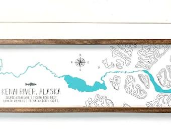 Kenai River Topographic Farmhouse Sign, Kenai River Map, River House, Fishing Lodge Decor, Alaska Cabin, Man Cave Decor, Made in Alaska