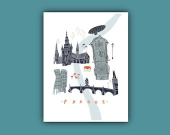 Prague Landmark Illustration, A4 Drawing