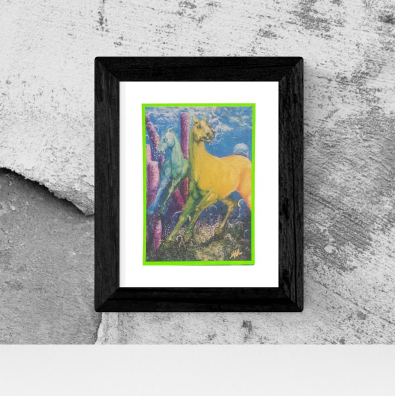 Colorful rainbow Sea horses Giclee print of watercolor horse card Hand made card Original art card Limited edition art card is gift