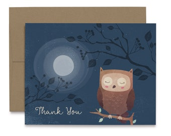 Personalized with any your text-DIGITAL FILE AA Owl thank you card Owls thank you card,owl Twins thank you card,twins thank you card