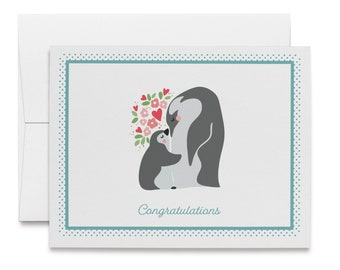 1 or 48 Eco-Friendly Cards With Envelopes 12 Baby Congrats Elephant Card 24