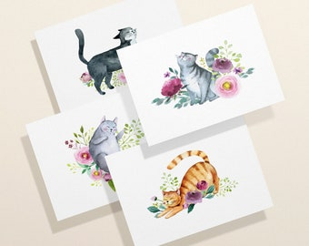 Social Stationery Modern Stationary Gifts for Cat Lovers Exotic Shorthair Personalized Flat Note Cards CT1 Cat Stationery