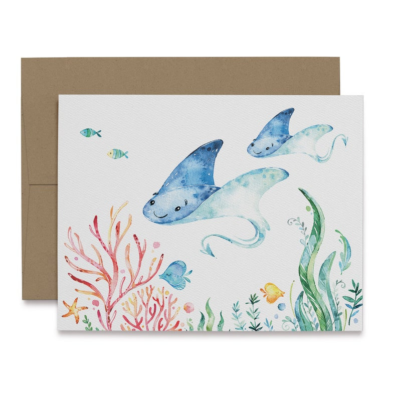 12 Sting Ray Note Card or 48 Eco-Friendly Cards With Envelopes 24 1