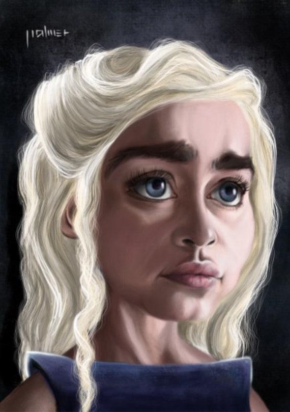 Daenerys Game Of Thrones Emilia Clarke Caricature A4 Etsy