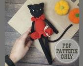 Amigurumi PATTERN Black cat doll in dress for halloween decor. Cat crochet pattern and crochet animal cat plush. Kawaii cat for gift