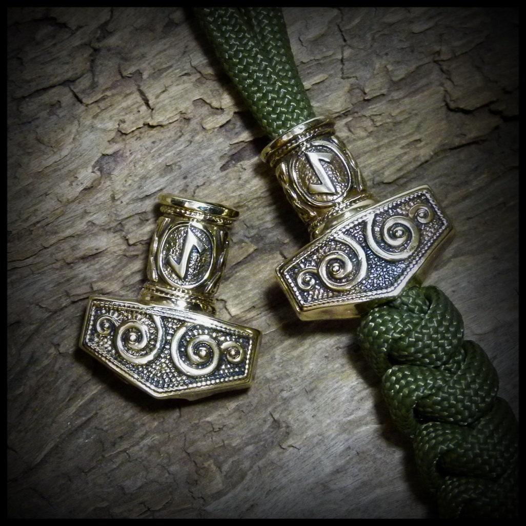 Thors Hammer Bead Paracord Lanyard Bracelet EDC Tool Beads Bronze Handmade New