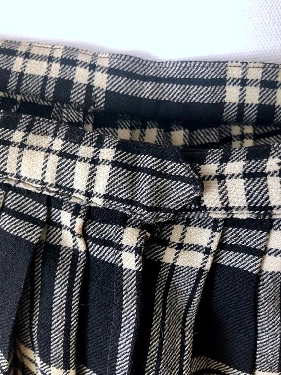 50's Wool Pleated Tartan - Kilt Style Plaid Skirt… - image 3