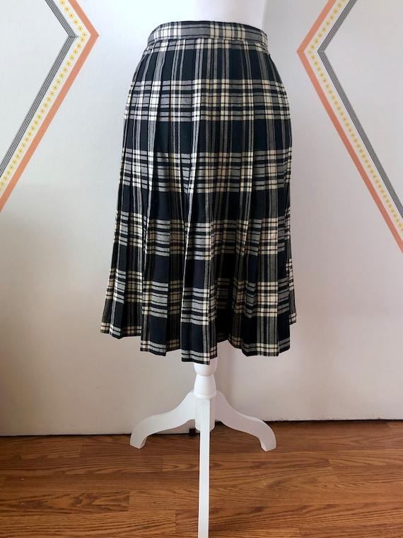 50's Wool Pleated Tartan - Kilt Style Plaid Skirt… - image 1