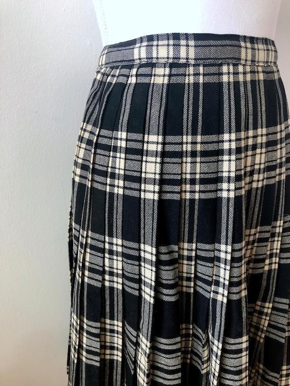50's Wool Pleated Tartan - Kilt Style Plaid Skirt… - image 2
