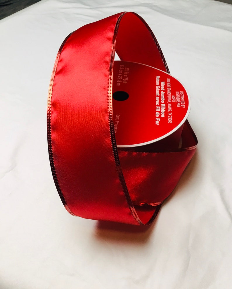 Red satin with red foil trim