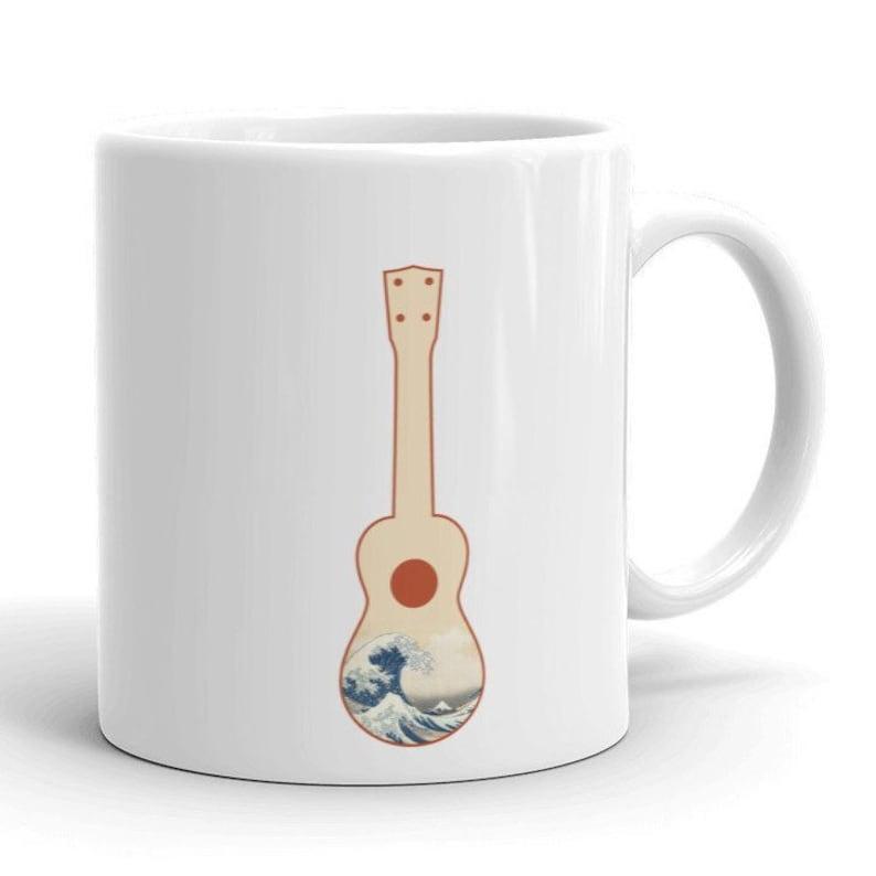 Great Wave Ukulele Mug  Beautiful mug with ukulele and image 0