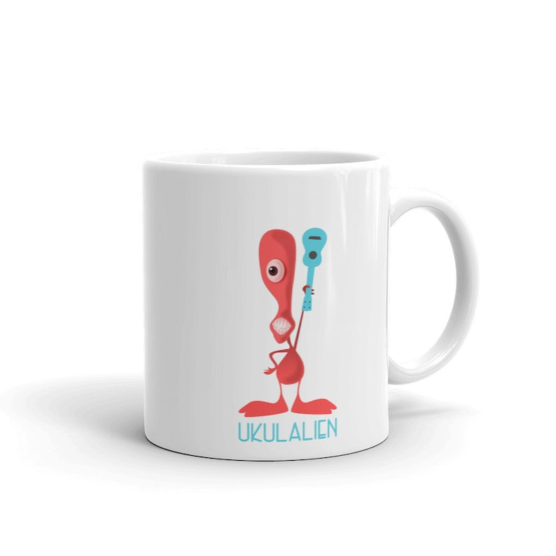 Ukulalien mug with fun character waving a ukulele. Perfect if image 0