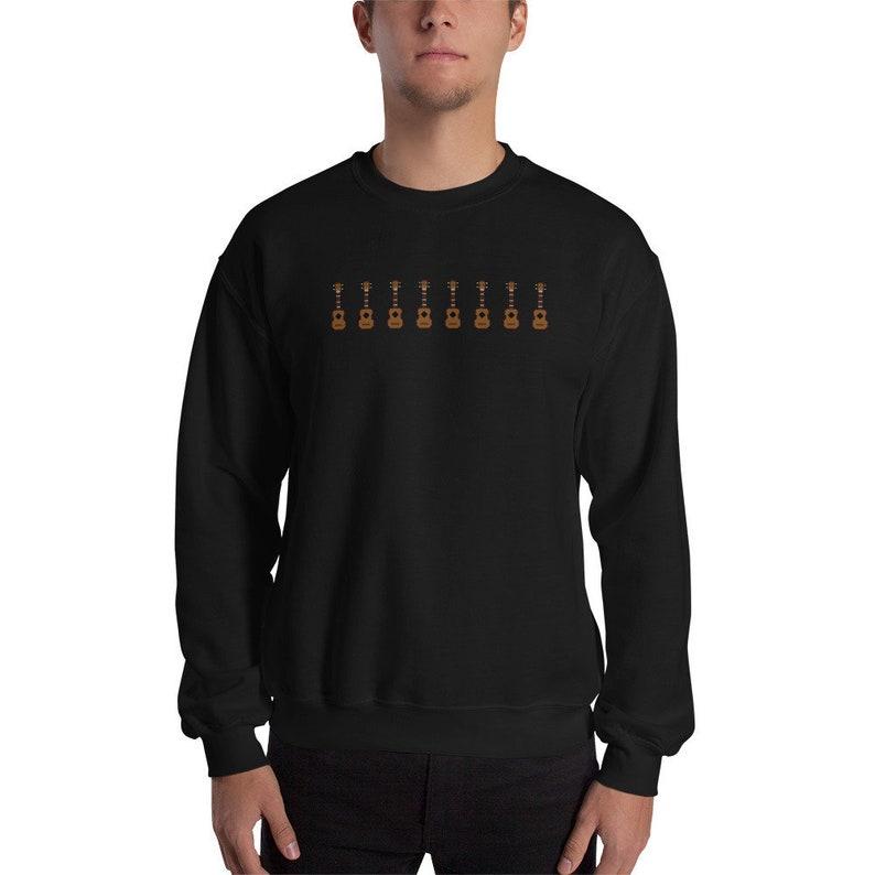 Retro digital ukulele sweatshirt in black. Original sweater image 0