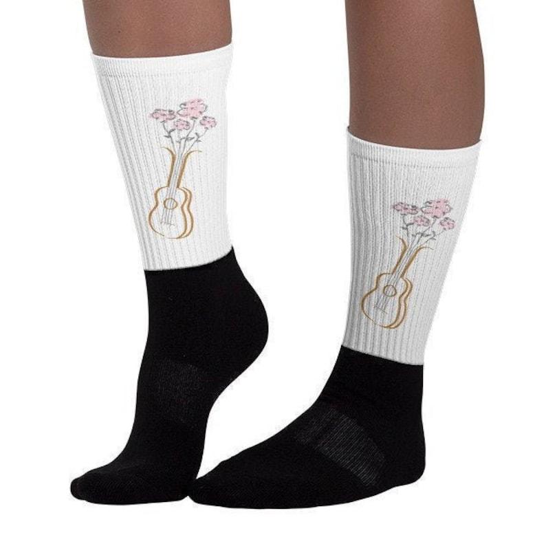 Floral Ukulele Socks  Pretty socks with ukulele and pink image 0