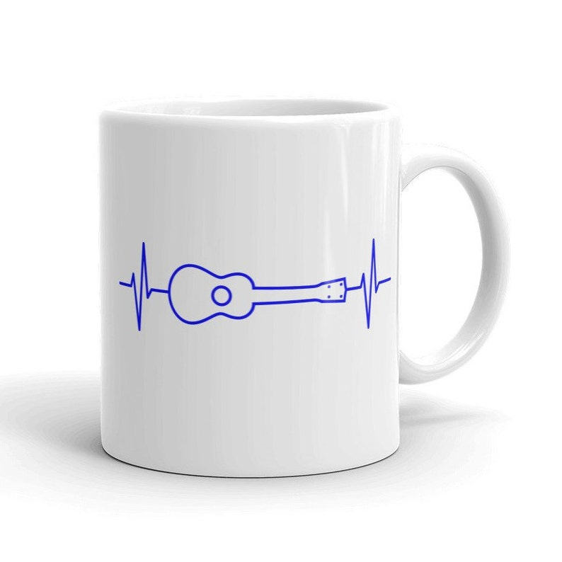 Ukulele Heartbeat Mug  Great mug with blue ukulele pulse image 0
