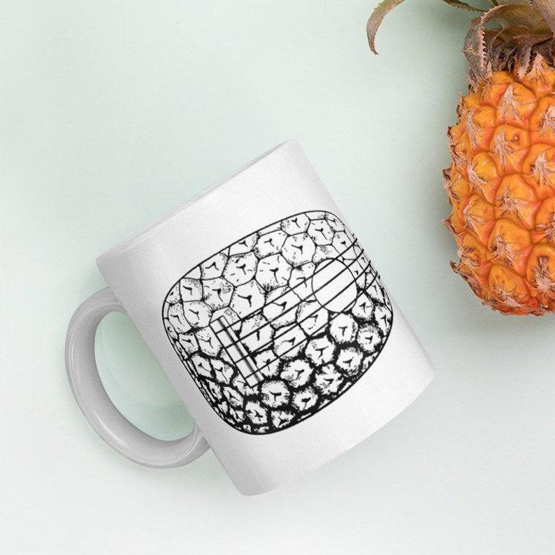 Ukulele Mug  Great mug with vintage pineapple uke design a image 0