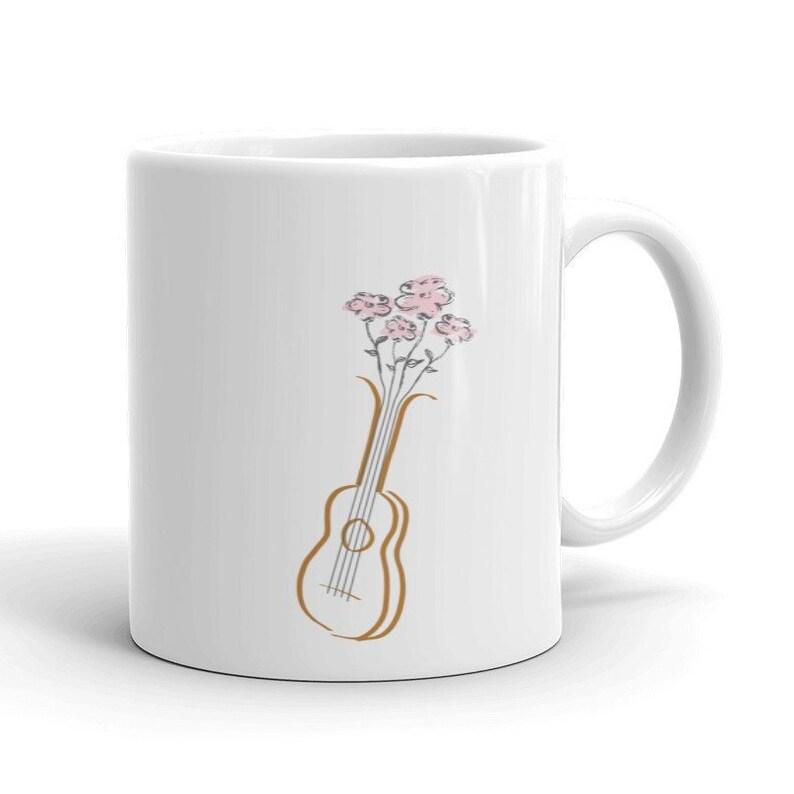 Floral Ukulele Mug  Pretty mug with ukulele and pink flowers image 0
