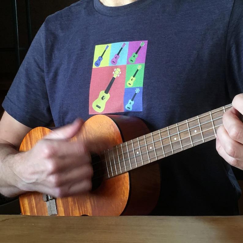 Ukulele t-shirt in navy blue  Bold stylish shirt with Andy image 0