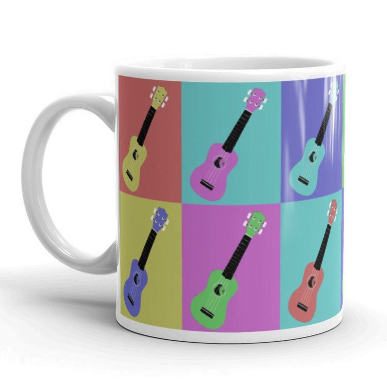 Ukulele Mug  Bold stylish mug with Andy Warhol-inspired image 0