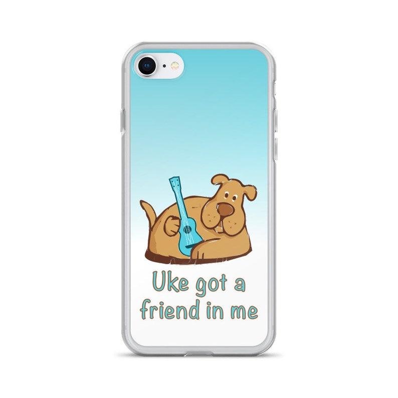 Ukulele iPhone case with cute dog and Uke got a friend image 0