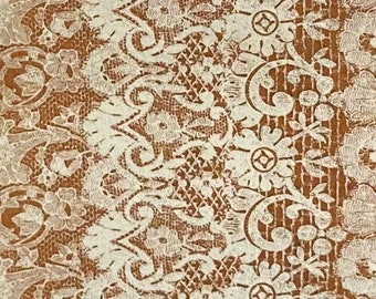 Basic Grey/Curio, #30277, colour #14, made in Japan, soft yellow lace pattern with caramel background