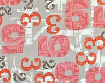 2wenty Thr3e by Eric & Julie Comstock of Cosmo Cricket for Moda Fabrics, pattern #37052. Printed numbers in shades of pink, orange and taupe
