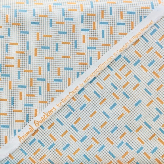 Pattern#8827 Orange and Blue Dashes over a Background Grid Animal Quackers for Kim/'s Cause by Maywood Studios Orange Colour