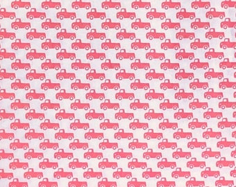 Tiny Trucks by Michael Miller, CX6358, pink trucks on a white background
