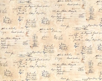 French Country by Sara Morgan for Washington Street Studios, coll#3159, print#372, colour N, navy handwriting on a tea-stained background