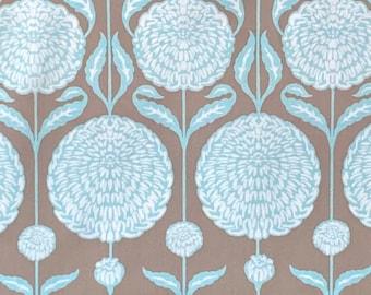 Joel Dewberry, Birch Farm Collection, Chrysanthemum, colour - Burlap , PWJD093.BURLAP, Chrysanthemums in White & turquoise on Mocha
