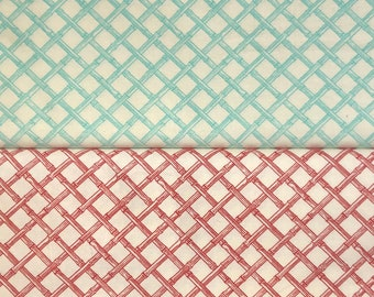 Trade Winds by Lily Ashbury for Moda, pattern #11458, lattice design in bamboo canes, col 16 Moroccan Red and col 21 South Pacific Blue