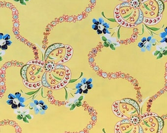 Summer Cottage #25179 Yellow, Gerri Robinson of Planted Seed Designs for Red Rooster Fabrics, ribbon floral print on yellow background