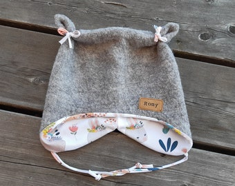 Beanie from Wollwalk with ears - grey/forest animals