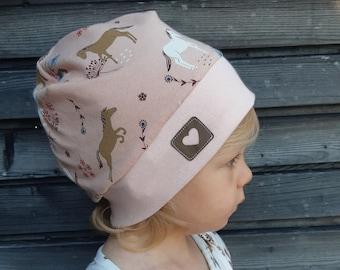 Cuff cap, beanie, cap - horses pink