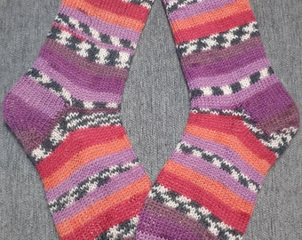 blue and yellow striped hand knitted unisex socks gifts Green toe cuddlers
