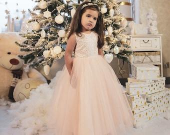 Blush sequin Tulle Flower Girl Dress, Communion dress, Tutu Flower Girl Dress , Birthday Girl Dress, Gown dress for wedding, photoshoot
