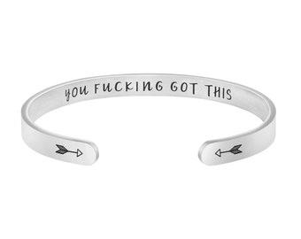 BLEOUK Inspiration Gift Encouragement Thinking Engraved Cuff Bracelets Gift for Women Girl Treat People with Kindness Bracelets